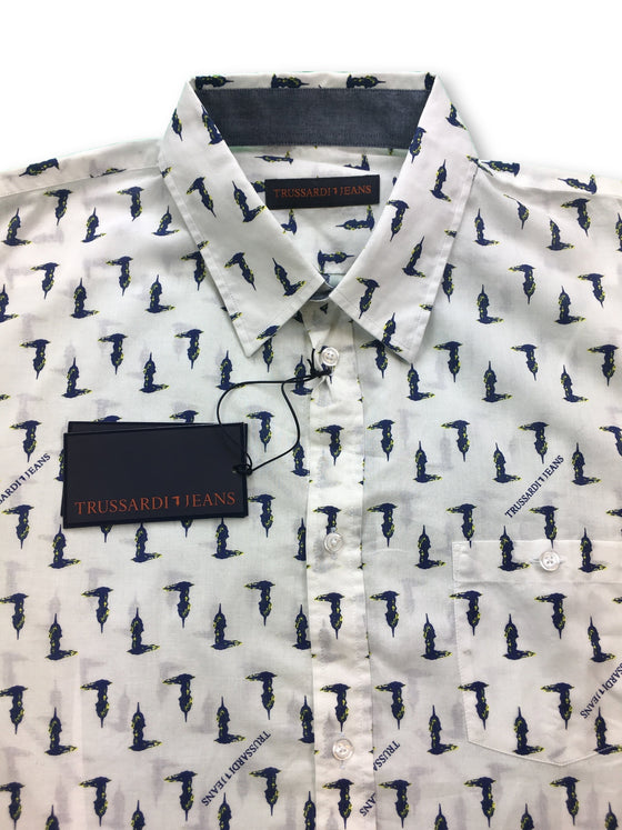 Trussardi Jeans close fit shirt in white/navy logo print