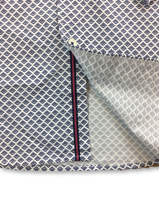 Bugatchi classic fit shirt in white with navy print