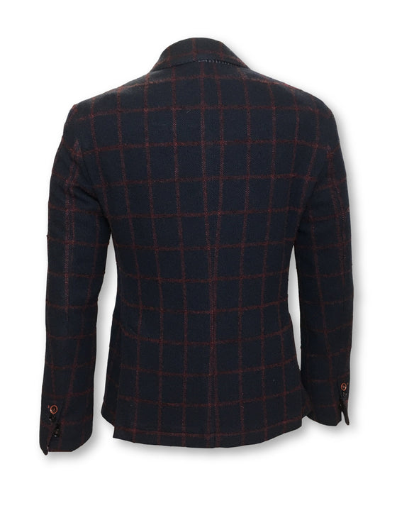 Massimo Rebecchi unstructured jacket in navy/red windowpane- khakisurfer.com Latest menswear designer brands added include Eton, Etro, Agave Denim, Pal Zileri, Circle of Gentlemen, Ralph Lauren, Scotch and Soda, Hugo Boss, Armani Jeans, Armani Collezioni.