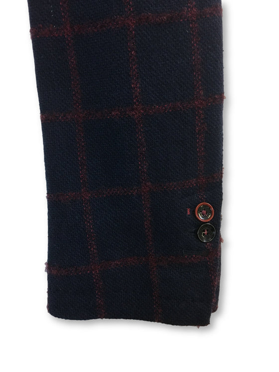 Massimo Rebecchi unstructured jacket in navy/red windowpane