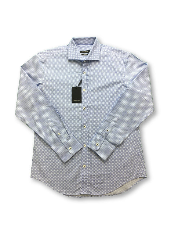 Bugatchi shaped fit shirt with blue circle print- khakisurfer.com Latest menswear designer brands added include Eton, Etro, Agave Denim, Pal Zileri, Circle of Gentlemen, Ralph Lauren, Scotch and Soda, Hugo Boss, Armani Jeans, Armani Collezioni.