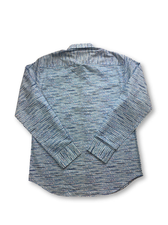 Bugatchi shaped fit shirt in blue waves print