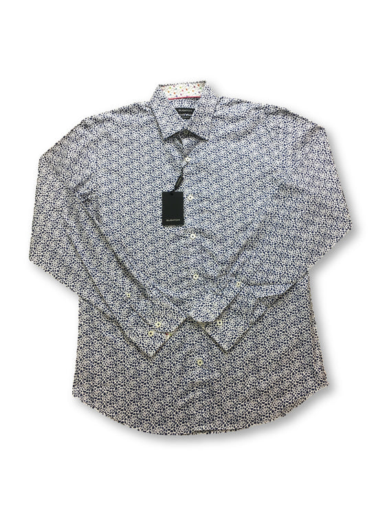 Bugatchi shaped fit shirt in white with blue rose print