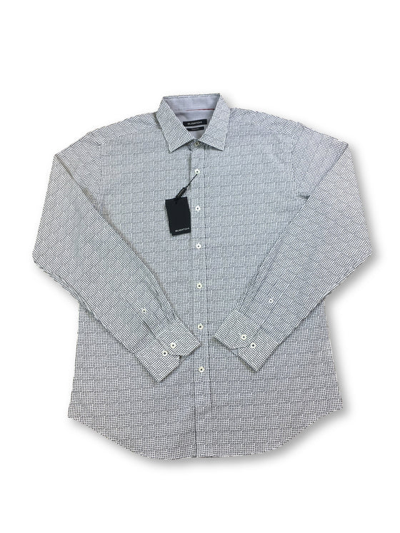 Bugatchi shaped fit shirt in white with grey geometric print- khakisurfer.com Latest menswear designer brands added include Eton, Etro, Agave Denim, Pal Zileri, Circle of Gentlemen, Ralph Lauren, Scotch and Soda, Hugo Boss, Armani Jeans, Armani Collezioni.