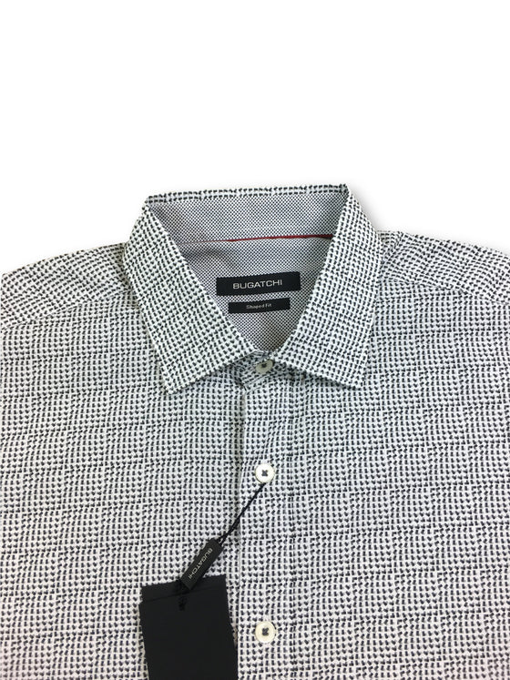Bugatchi shaped fit shirt in white with grey geometric print