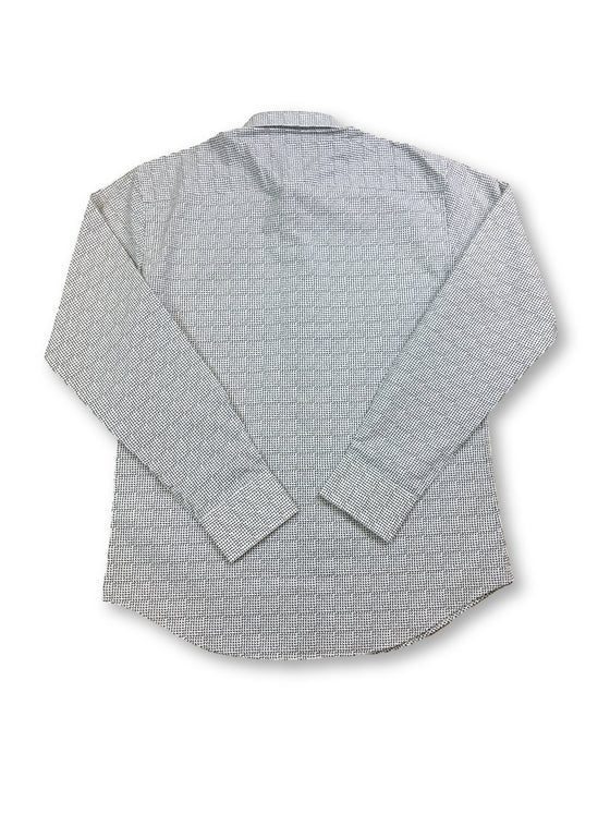 Bugatchi shaped fit shirt in white with grey geometric print-khakisurfer.com