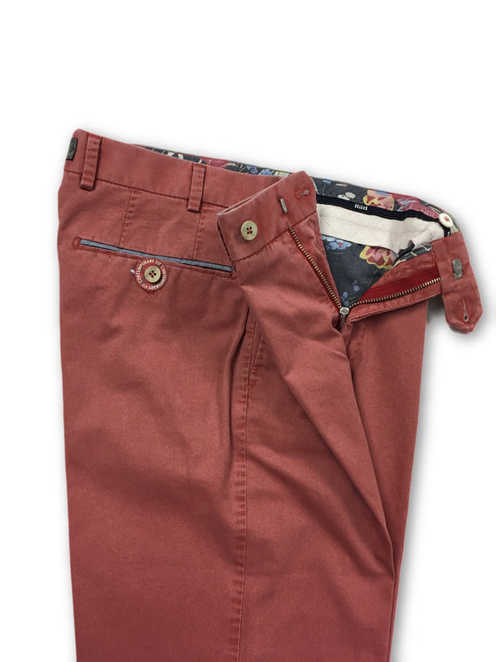 Hiltl trousers in washed red lightweight cotton- khakisurfer.com Latest menswear designer brands added include Eton, Etro, Agave Denim, Pal Zileri, Circle of Gentlemen, Ralph Lauren, Scotch and Soda, Hugo Boss, Armani Jeans, Armani Collezioni.