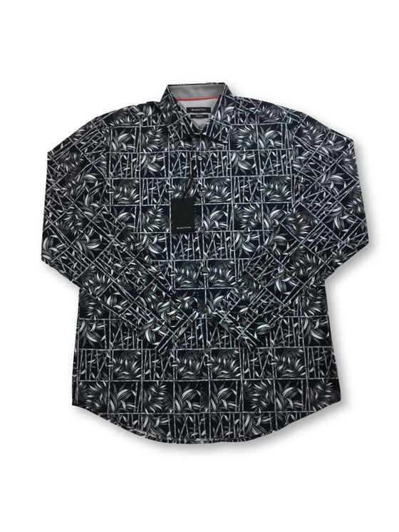Bugatchi shaped fit shirt in black with bamboo and fern print