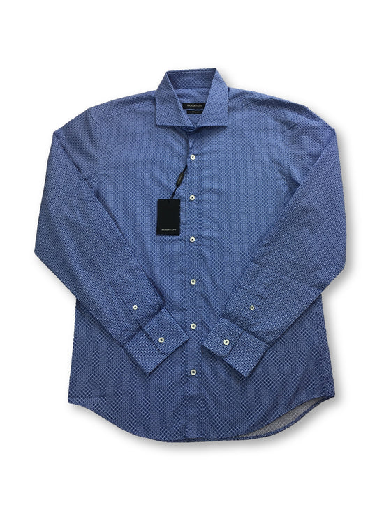 Bugatchi shaped fit shirt in with blue circles print- khakisurfer.com Latest menswear designer brands added include Eton, Etro, Agave Denim, Pal Zileri, Circle of Gentlemen, Ralph Lauren, Scotch and Soda, Hugo Boss, Armani Jeans, Armani Collezioni.