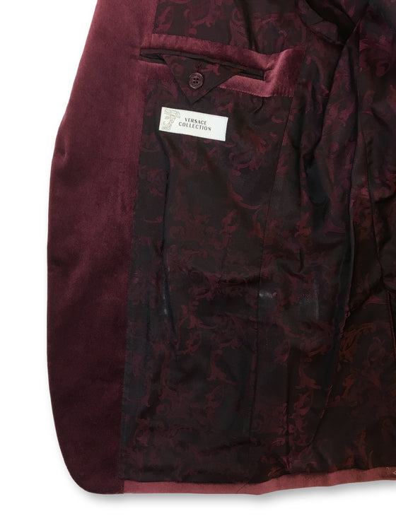 Versace Collection structured jacket in Bordeaux- khakisurfer.com Latest menswear designer brands added include Eton, Etro, Agave Denim, Pal Zileri, Circle of Gentlemen, Ralph Lauren, Scotch and Soda, Hugo Boss, Armani Jeans, Armani Collezioni.