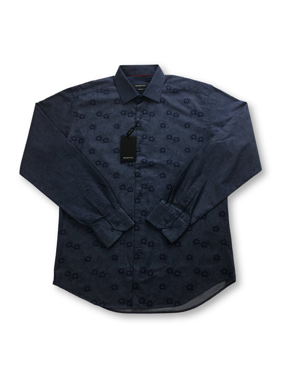 Bugatchi shaped fit shirt in blue with embroidered stars