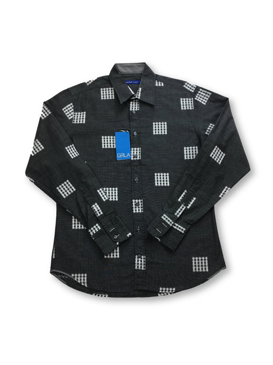 Georg Roth shirt in grey with embroidered squares