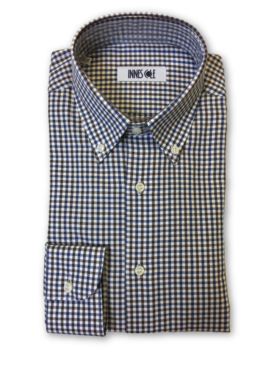 Ingram shirt in white/brown/blue check pattern- khakisurfer.com Latest menswear designer brands added include Eton, Etro, Agave Denim, Pal Zileri, Circle of Gentlemen, Ralph Lauren, Scotch and Soda, Hugo Boss, Armani Jeans, Armani Collezioni.