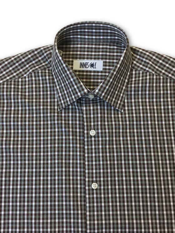 Ingram shirt in brown and white check pattern-khakisurfer.com