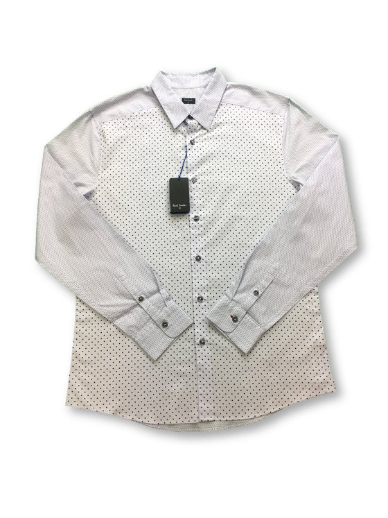Paul Smith slim fit shirt in pale blue/grey dot design