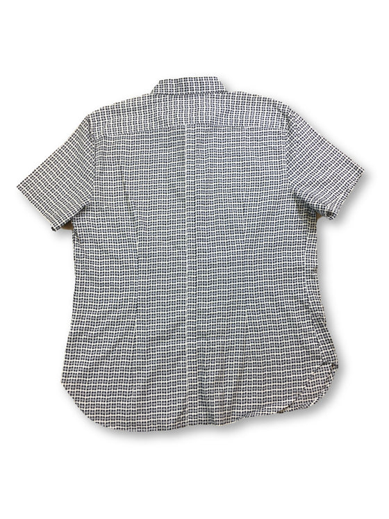 Paul Smith slim fit short sleeve shirt in cream/grey abstract check