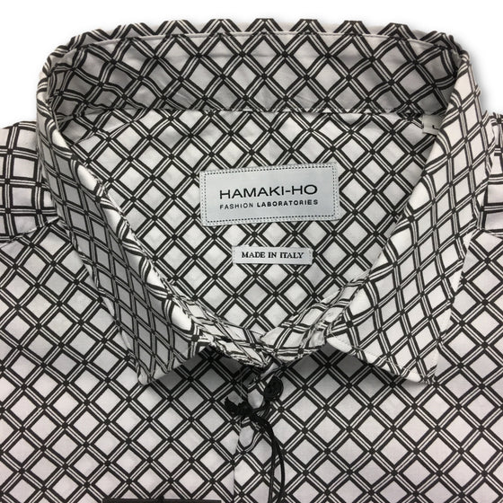 Hamaki-Ho white and grey printed shirt- khakisurfer.com Latest menswear designer brands added include Eton, Etro, Agave Denim, Pal Zileri, Circle of Gentlemen, Ralph Lauren, Scotch and Soda, Hugo Boss, Armani Jeans, Armani Collezioni.