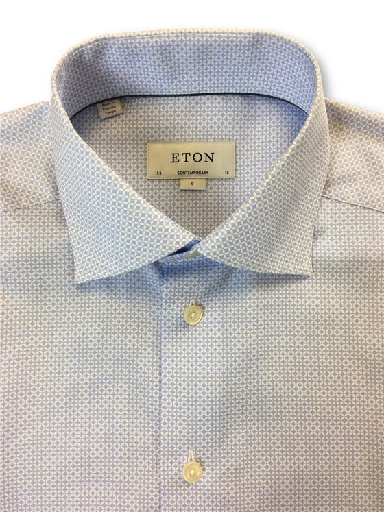 Eton Blue contemporary shirt in blue/white geometric design- khakisurfer.com Latest menswear designer brands added include Eton, Etro, Agave Denim, Pal Zileri, Circle of Gentlemen, Ralph Lauren, Scotch and Soda, Hugo Boss, Armani Jeans, Armani Collezioni.