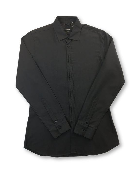 B>More shaped fit pleated placket cotton shirt in brown-khakisurfer.com