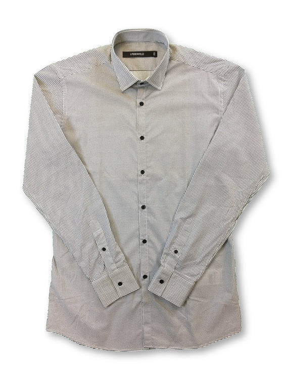Lagerfeld ultra fit shirt in white with black dot pattern- khakisurfer.com Latest menswear designer brands added include Eton, Etro, Agave Denim, Pal Zileri, Circle of Gentlemen, Ralph Lauren, Scotch and Soda, Hugo Boss, Armani Jeans, Armani Collezioni.