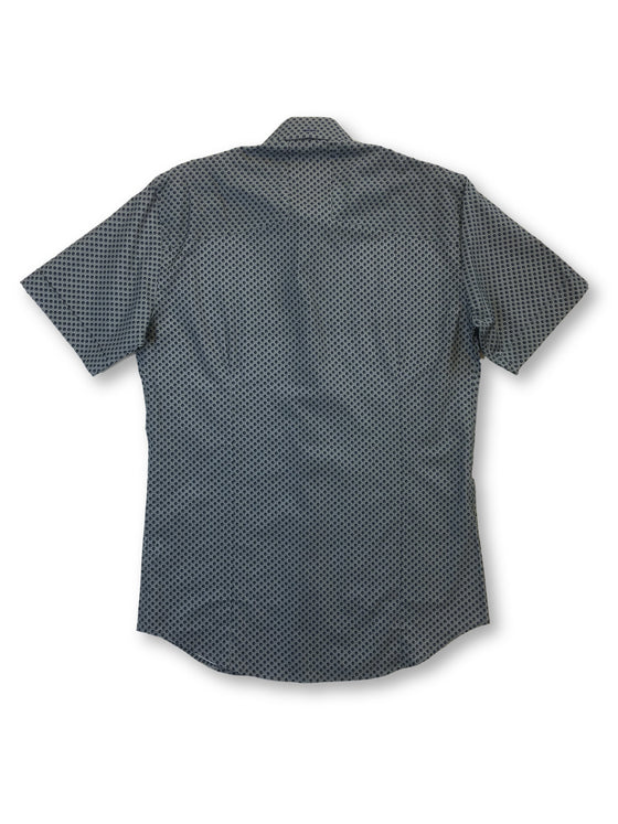Bogosse short sleeved shirt in grey and navy spot pattern- khakisurfer.com Latest menswear designer brands added include Eton, Etro, Agave Denim, Pal Zileri, Circle of Gentlemen, Ralph Lauren, Scotch and Soda, Hugo Boss, Armani Jeans, Armani Collezioni.