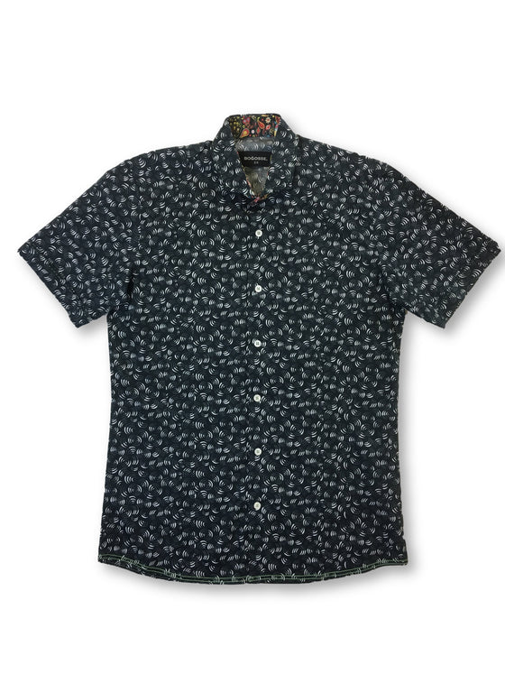 Bogosse short sleeved shirt in black spiral style pattern- khakisurfer.com Latest menswear designer brands added include Eton, Etro, Agave Denim, Pal Zileri, Circle of Gentlemen, Ralph Lauren, Scotch and Soda, Hugo Boss, Armani Jeans, Armani Collezioni.