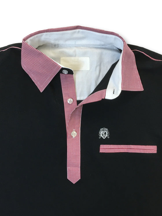 William Hunt polo in black with contrast shirt collar-khakisurfer.com