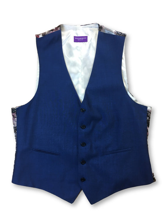 William Hunt waistcoat in blue with grey/pink floral-khakisurfer.com