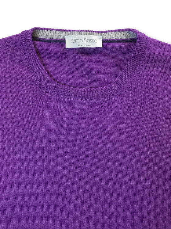 Gran Sasso crew neck knitwear in violet- khakisurfer.com Latest menswear designer brands added include Eton, Etro, Agave Denim, Pal Zileri, Circle of Gentlemen, Ralph Lauren, Scotch and Soda, Hugo Boss, Armani Jeans, Armani Collezioni.