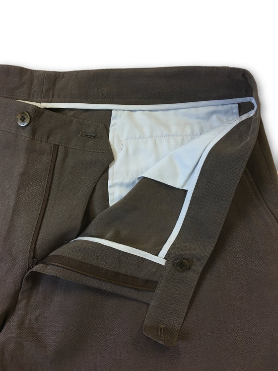 Armani Collezioni chinos in brown herringbone pattern