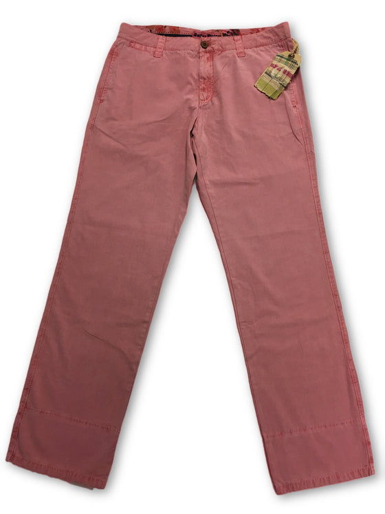Tailor Vintage Enzyme Washed Chino in Pale Red- khakisurfer.com Latest menswear designer brands added include Eton, Etro, Agave Denim, Pal Zileri, Circle of Gentlemen, Ralph Lauren, Scotch and Soda, Hugo Boss, Armani Jeans, Armani Collezioni.