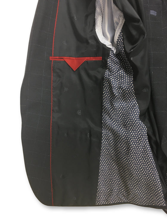 Roy Robson slim fit jacket with waistcoat in navy check