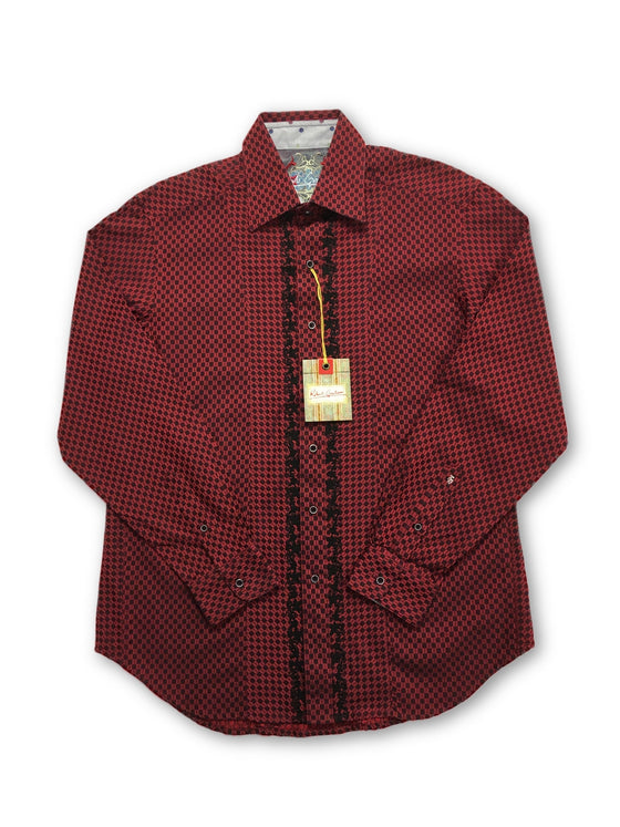 Robert Graham 'Burroughs' shirt in red geometric design