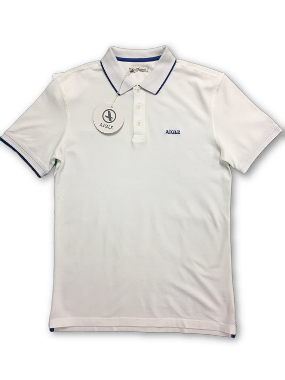Aigle Baldween 3 Button Polo Shirt in White- khakisurfer.com Latest menswear designer brands added include Eton, Etro, Agave Denim, Pal Zileri, Circle of Gentlemen, Ralph Lauren, Scotch and Soda, Hugo Boss, Armani Jeans, Armani Collezioni.