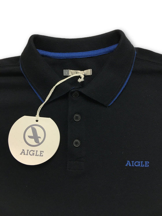 Aigle Baldween 3 Button Polo Shirt in Black- khakisurfer.com Latest menswear designer brands added include Eton, Etro, Agave Denim, Pal Zileri, Circle of Gentlemen, Ralph Lauren, Scotch and Soda, Hugo Boss, Armani Jeans, Armani Collezioni.