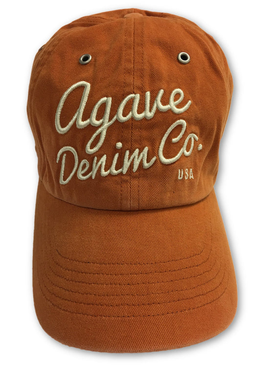 Agave Embroidered Denim Co USA Baseball Cap in Orange- khakisurfer.com Latest menswear designer brands added include Eton, Etro, Agave Denim, Pal Zileri, Circle of Gentlemen, Ralph Lauren, Scotch and Soda, Hugo Boss, Armani Jeans, Armani Collezioni.