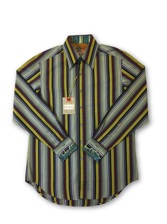 Robert Graham 'Ogden' shirt in brown jacquard multi stripe