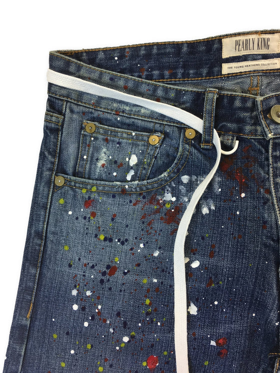 Pearly King Helmut Brute denim jeans in blue paint splatter design- khakisurfer.com Latest menswear designer brands added include Eton, Etro, Agave Denim, Pal Zileri, Circle of Gentlemen, Ralph Lauren, Scotch and Soda, Hugo Boss, Armani Jeans, Armani Collezioni.