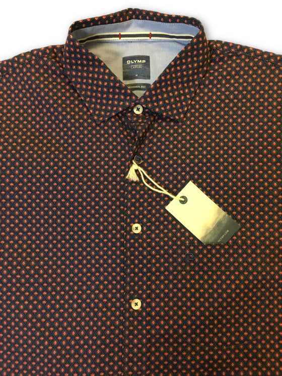 Olymp Casual modern fit shirt in red/blue geometric pattern- khakisurfer.com Latest menswear designer brands added include Eton, Etro, Agave Denim, Pal Zileri, Circle of Gentlemen, Ralph Lauren, Scotch and Soda, Hugo Boss, Armani Jeans, Armani Collezioni.