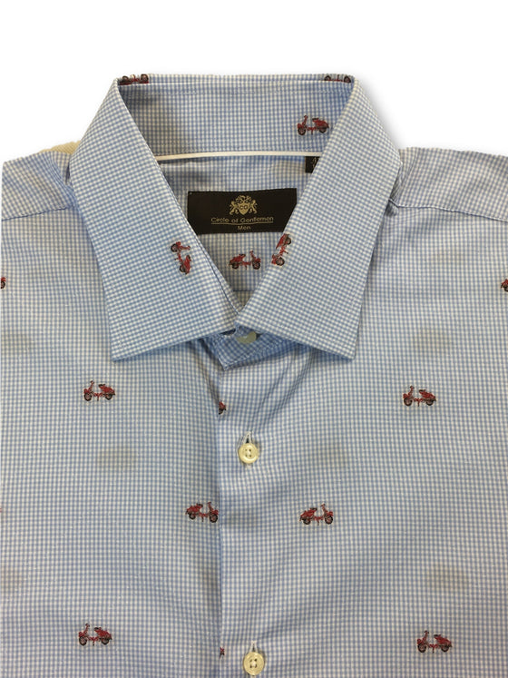 Circle of Gentlemen Run shirt in blue embroidered scooters- khakisurfer.com Latest menswear designer brands added include Eton, Etro, Agave Denim, Pal Zileri, Circle of Gentlemen, Ralph Lauren, Scotch and Soda, Hugo Boss, Armani Jeans, Armani Collezioni.