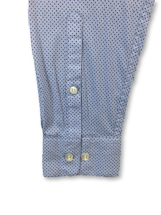 Armani Jeans slim stretch cotton shirt in sky blue dot and stripe- khakisurfer.com Latest menswear designer brands added include Eton, Etro, Agave Denim, Pal Zileri, Circle of Gentlemen, Ralph Lauren, Scotch and Soda, Hugo Boss, Armani Jeans, Armani Collezioni.