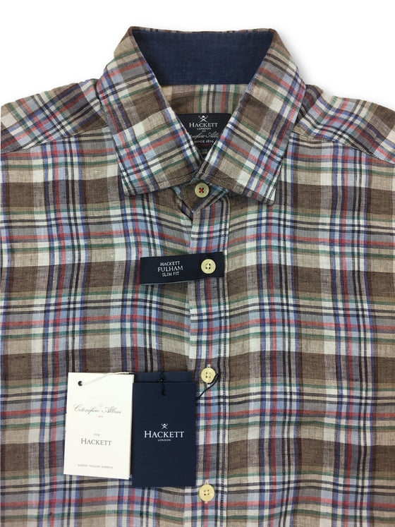 Hackett Fulham slim fit shirt in Sahara brown check