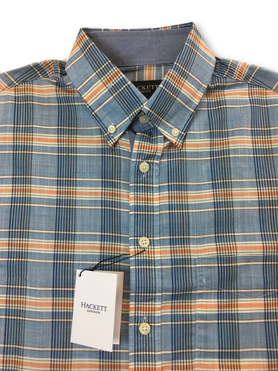 Hackett classic fit shirt in blue/orange check- khakisurfer.com Latest menswear designer brands added include Eton, Etro, Agave Denim, Pal Zileri, Circle of Gentlemen, Ralph Lauren, Scotch and Soda, Hugo Boss, Armani Jeans, Armani Collezioni.