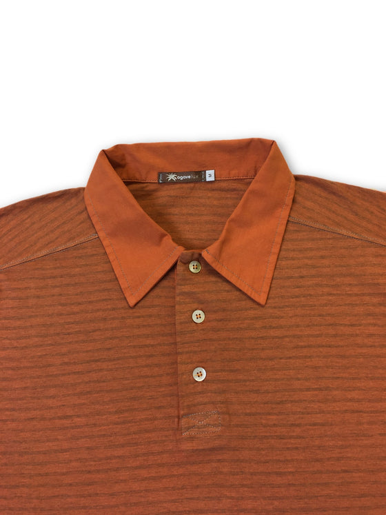Agave Lux 'Taos' long sleeved polo shirt in orange-khakisurfer.com