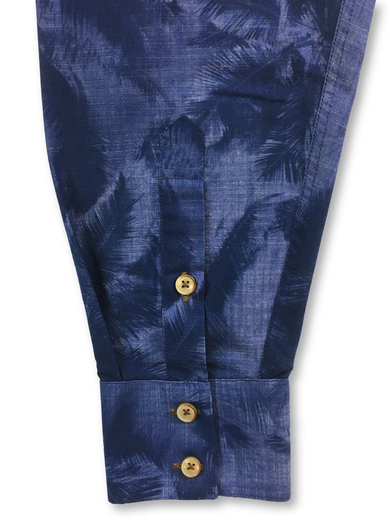 Circle of Gentlemen Mendo shirt in blue/navy palm tree print