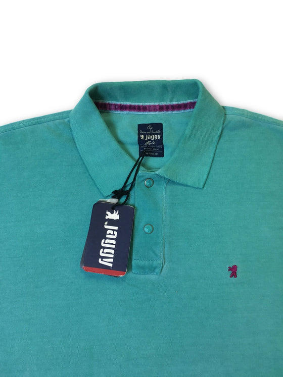 Jaggy polo in sea green/blue