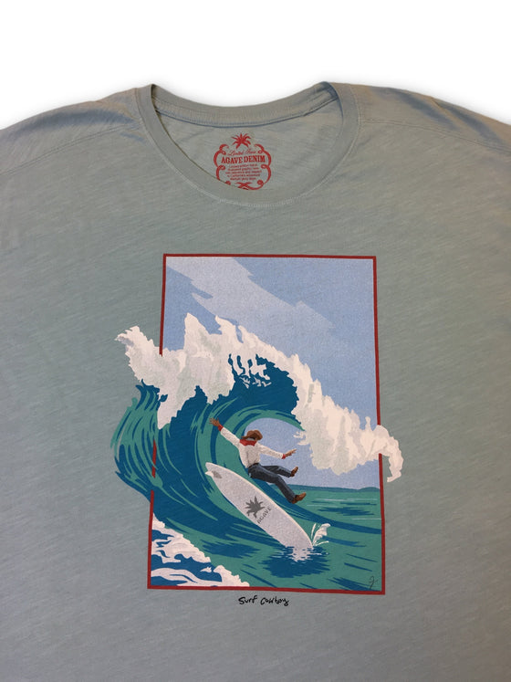 Agave Denim Limited Edition 'SurfCowboy' T-shirt in light blue