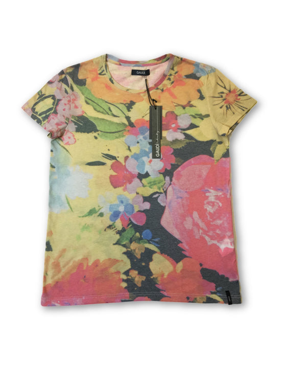 Gaudi T-shirt in multi colour psychedelic floral design- khakisurfer.com Latest menswear designer brands added include Eton, Etro, Agave Denim, Pal Zileri, Circle of Gentlemen, Ralph Lauren, Scotch and Soda, Hugo Boss, Armani Jeans, Armani Collezioni.