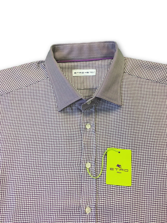 Etro Milano shirt in purple and white houndstooth