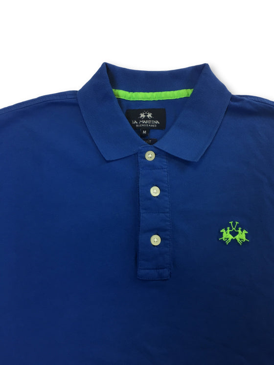La Martina slim fit polo in blue stretch cotton